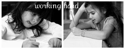 Working hard collage