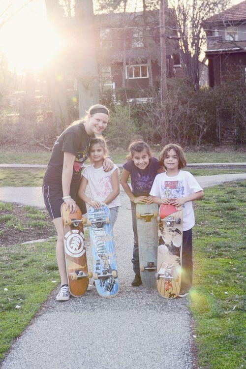 Pro skateboarders at delmar park cntrd
