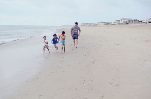Dave and kids on beach