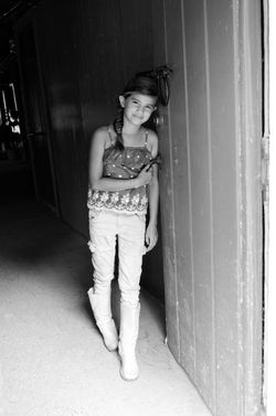Eden at barn bw
